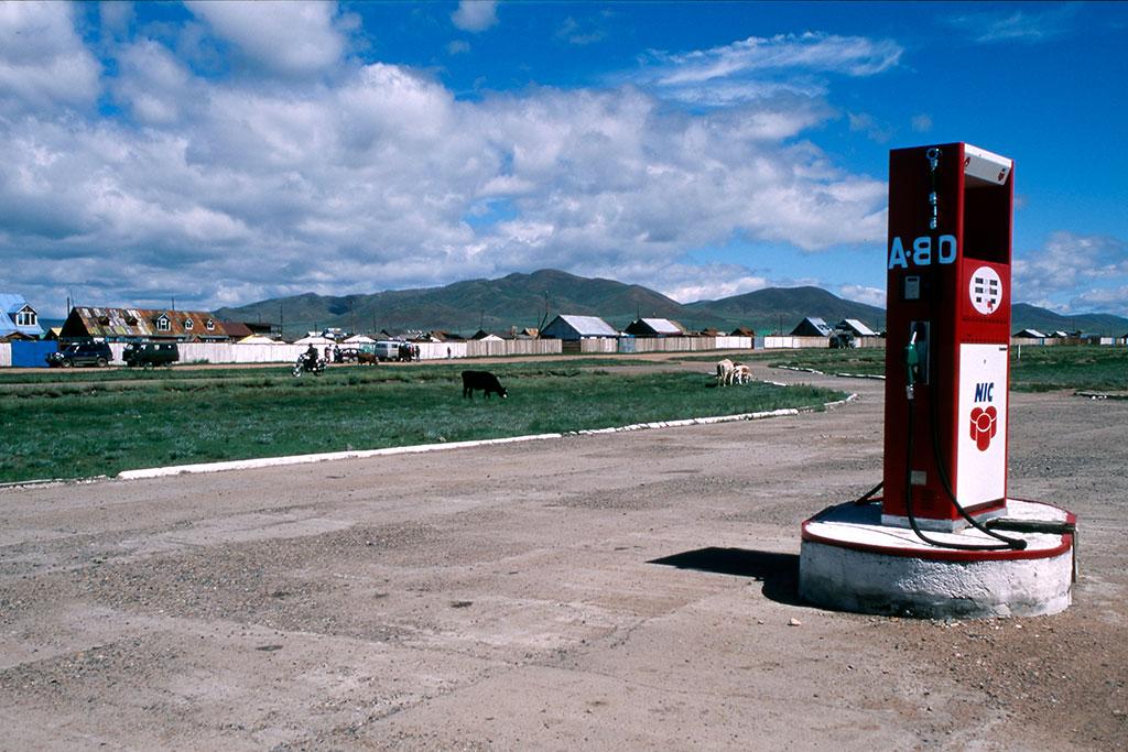 estação de combustível na Mongólia