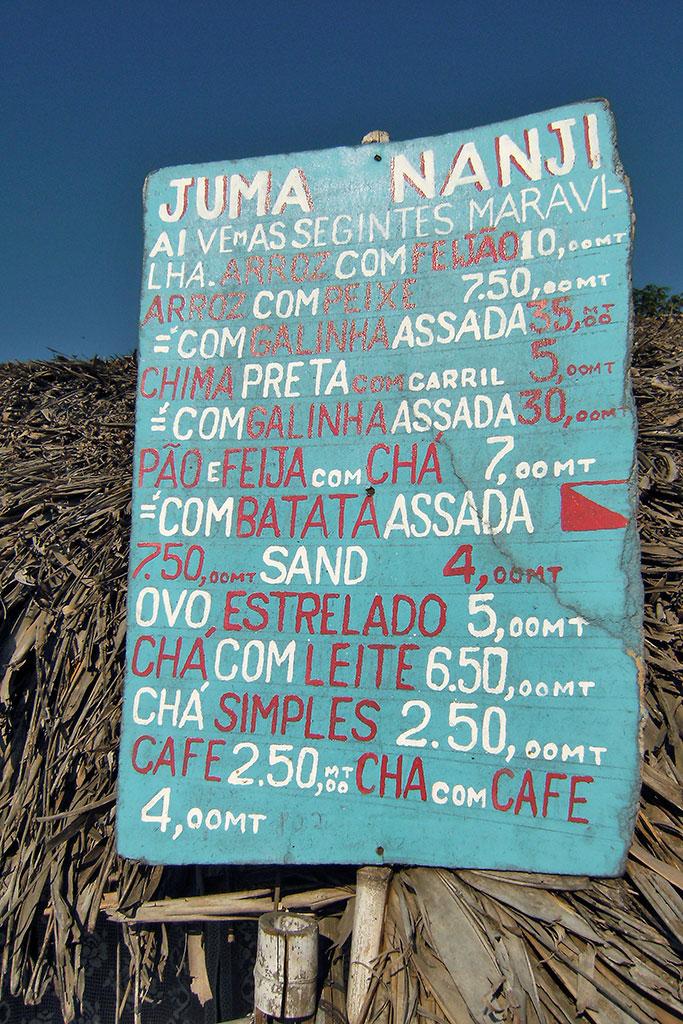 ementa do restaurante Juma Nnanji