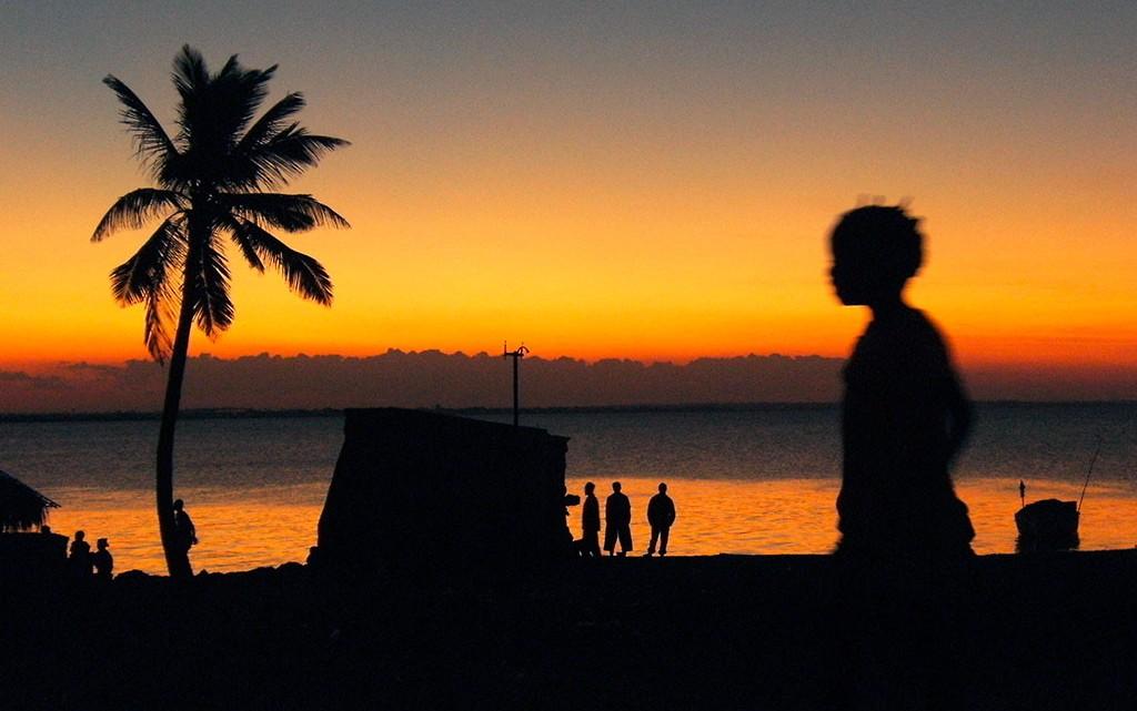 pôr-do-sol na ilha de Mocambique