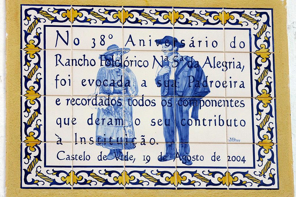 Painel azulejos do aniversário do rancho folclórico N. Sra. da Alegria