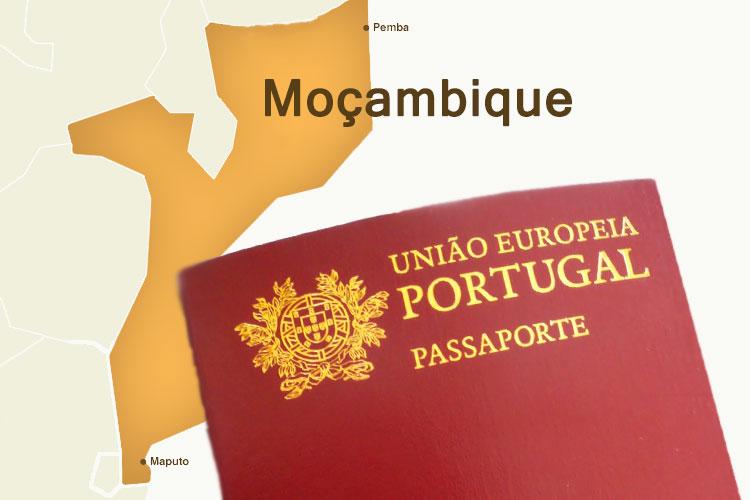 mapa moçambique e passaporte