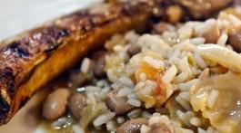 entrecosto assado com arroz de feijão