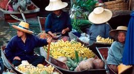 Mercado flutuante de Damnoen Saduak.