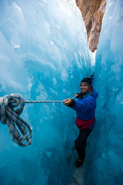 Filipe Morato Gomes no glaciar Franz Joseph