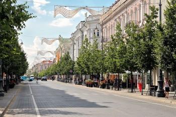rua ladeada de árvores em vilnius