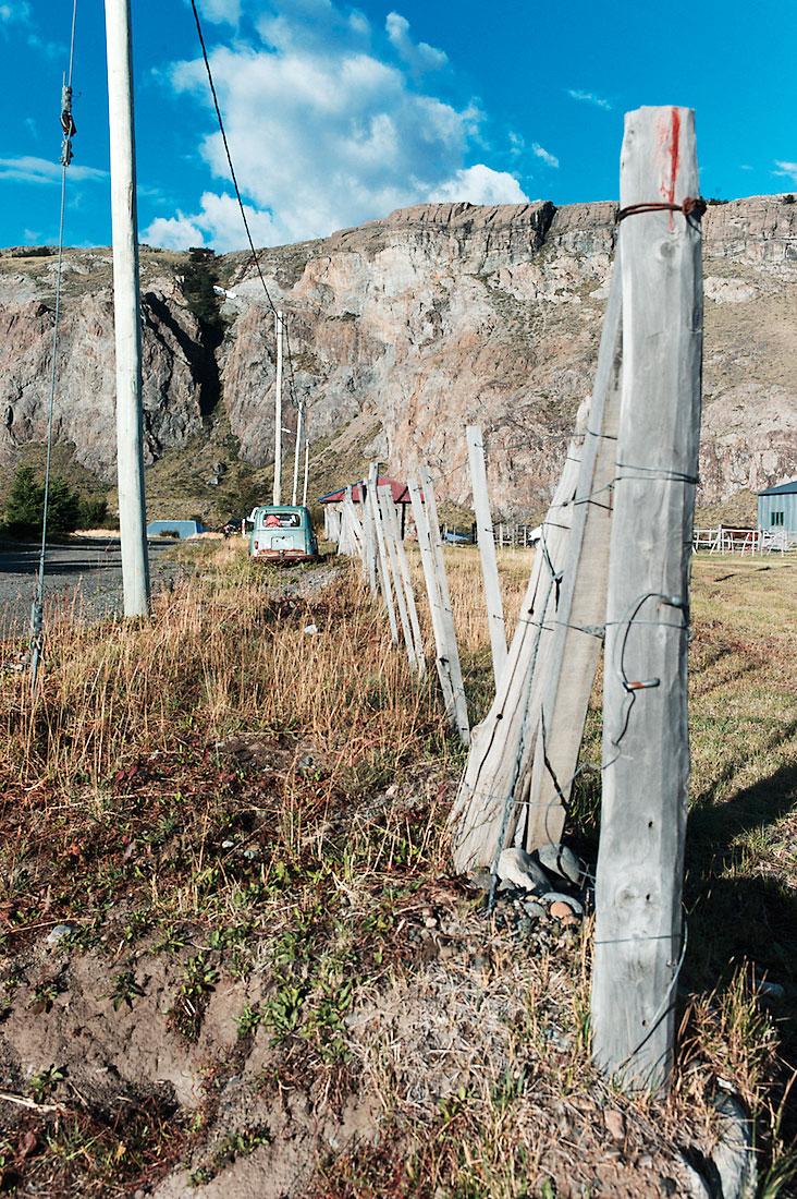 cerca de madeira para delimitar terrenos em El Chaten