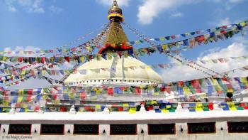 A Stupa de Boudhanat, em Kathmandu, está dividida por quatro pisos