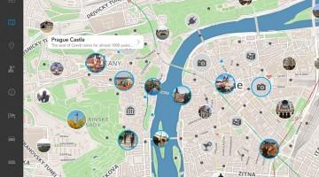 mapa na aplicação tripomatic, versão iPad