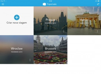 destinos na aplicação tripomatic, versão iPad