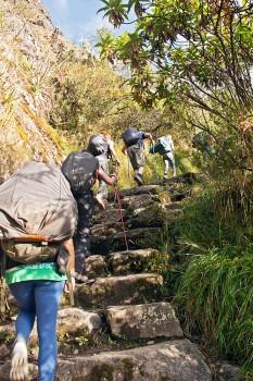 pessoas a subir grandes degraus de pedra no caminho inca
