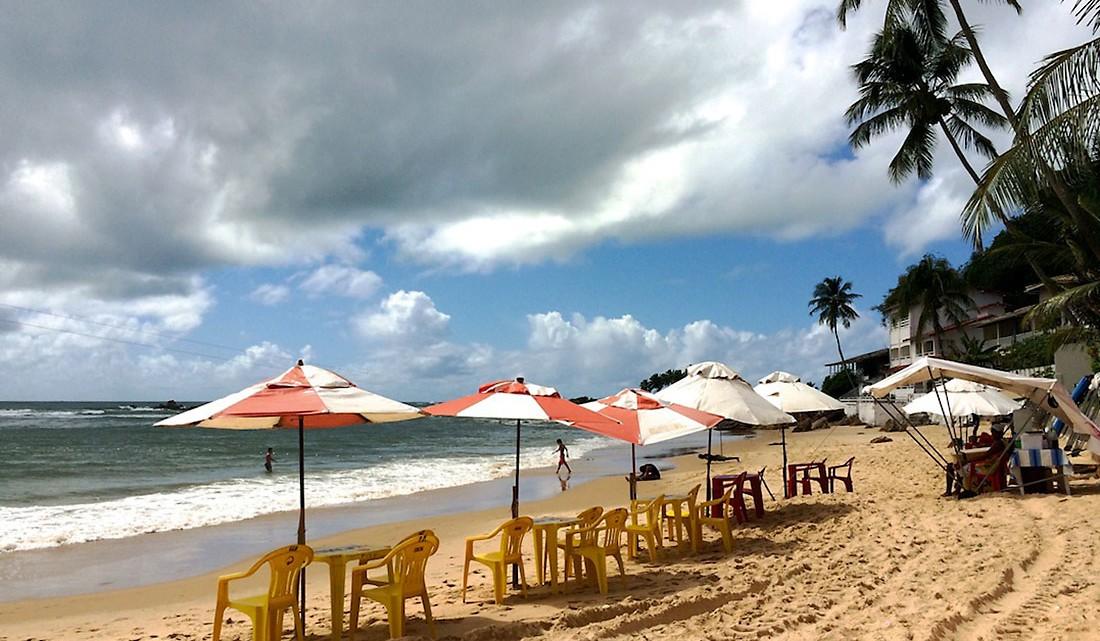 Praia com chapéus-de-sol e coqueiros no Morro de São Paulo
