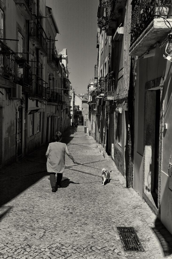 mulher passeia cao em rua estreita do bairro da madragoa
