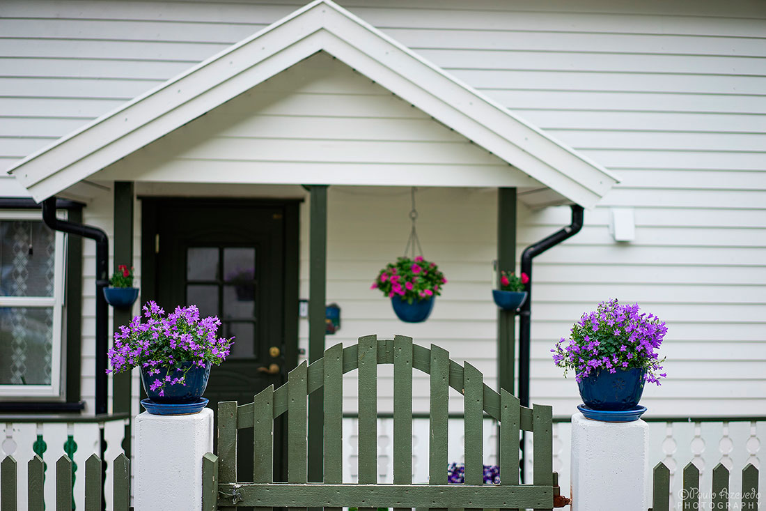 entrada com vasos de casa tipica norueguesa