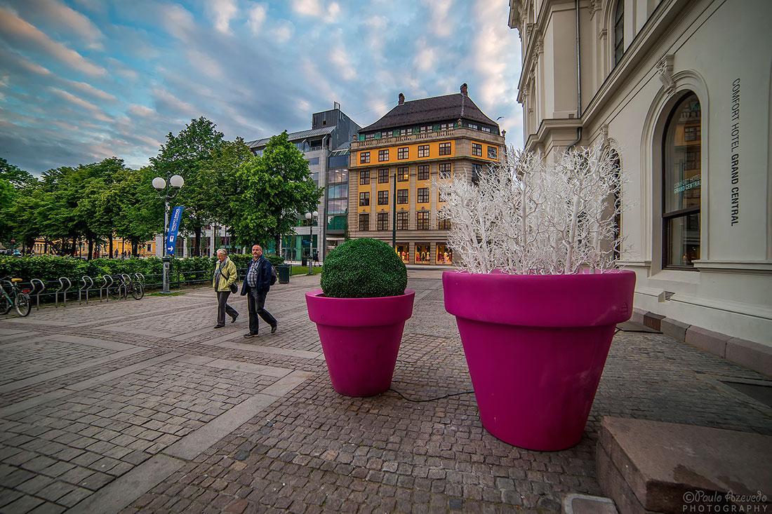 vasos gigantes nas ruas do centro de Oslo
