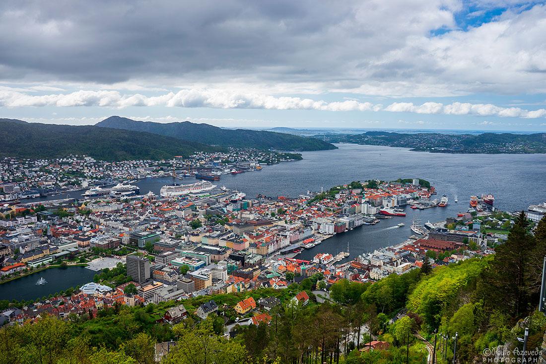 vista panorâmica sobre a cidade de Bergen
