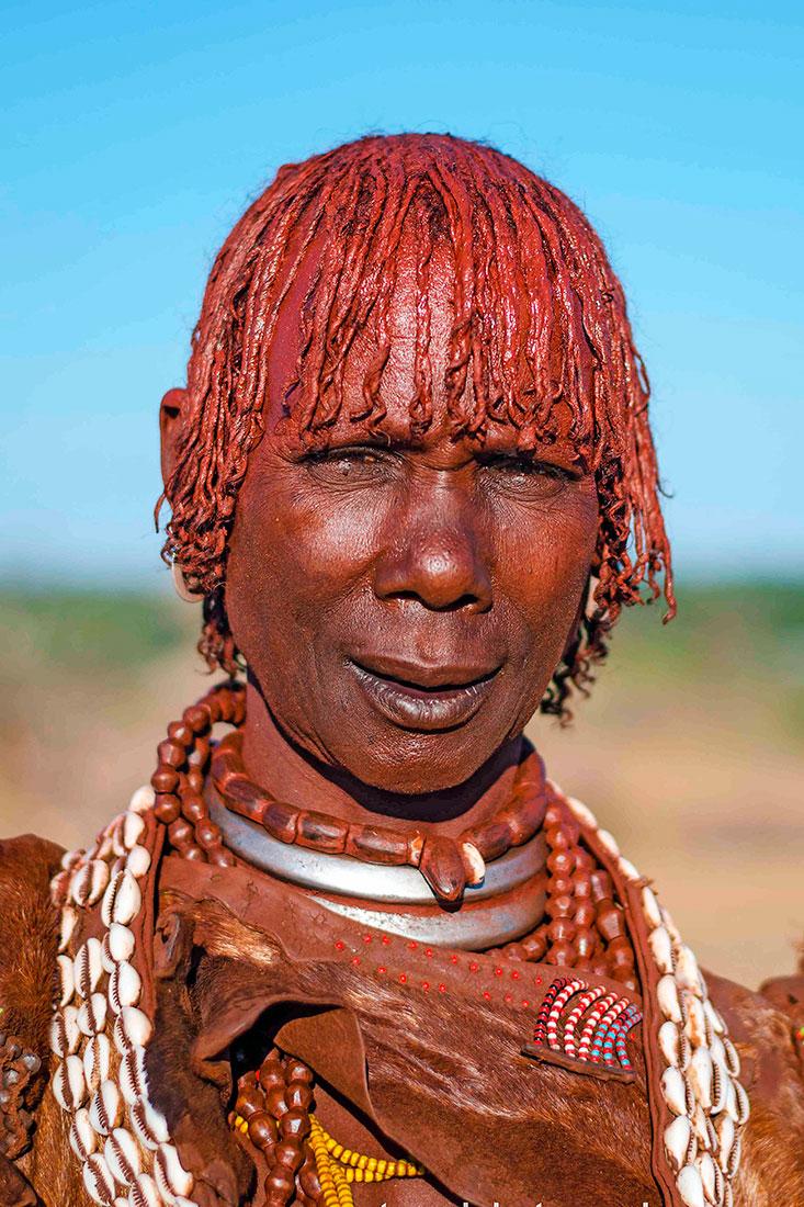 matriarca de uma tribo hammer no Vale de Omo, Etiópia