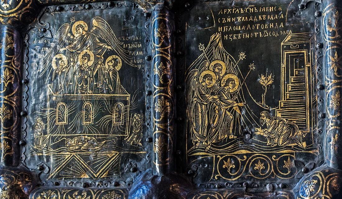 Iluminuras em painel no interior da Catedral da Natividade da Virgem, em Suzdal.