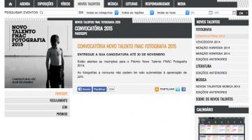 Print screen do site da fnac com página sobre o concurso anual de talentos de fotografia