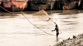 pescador a lançar as redes no rio Hooghly, em Calcutá, junto a estaleiro naval.