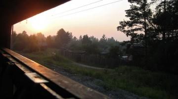 pôr-do-sol desde o comboio transiberiano