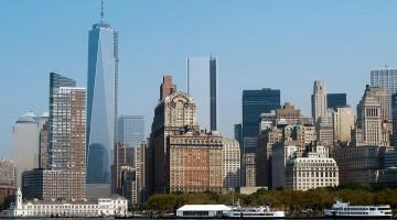 Manhattan em Nova Iorque vista desde o rio hudson.