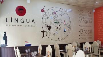 Vista da sala de refeições do restaurante língua em Coimbra