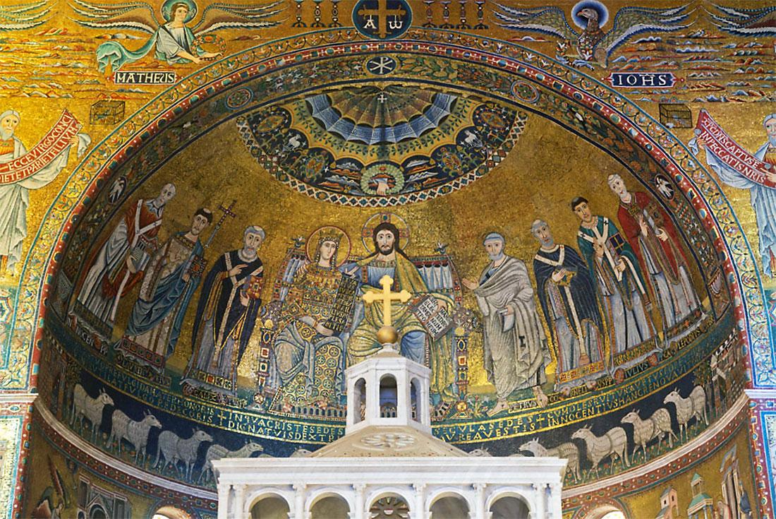 Altar da basílica de Santa Maria em Trastevere, Roma.