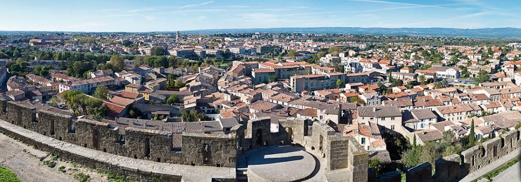 Panorâmica da cidade de Carcassonne desde as muralhas.