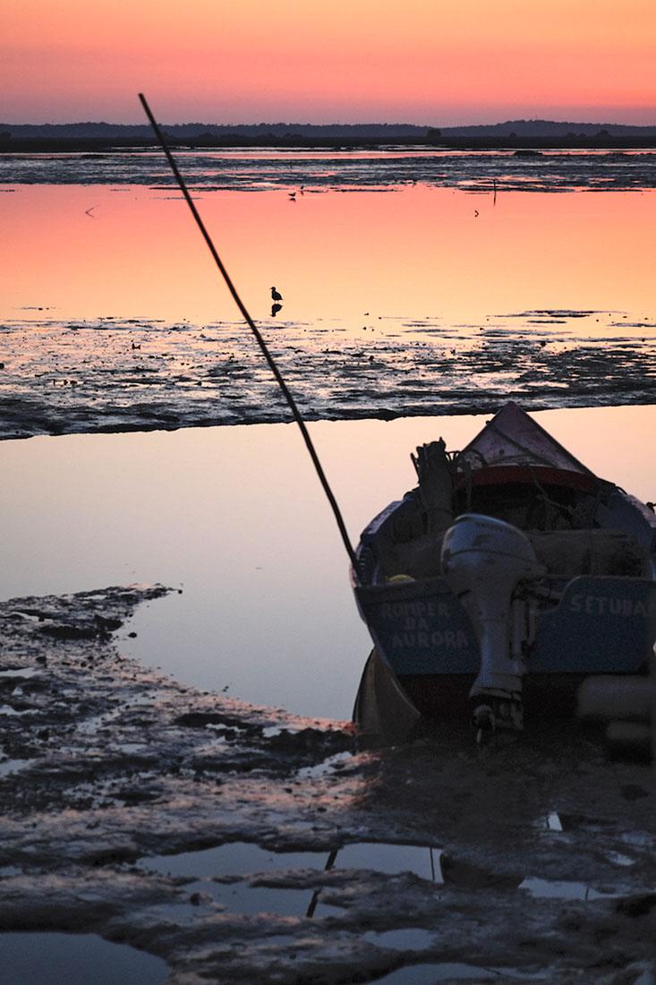 Barco ao pôr-do-sol sobre o lodo do rio Sado junto à Carrasqueira.