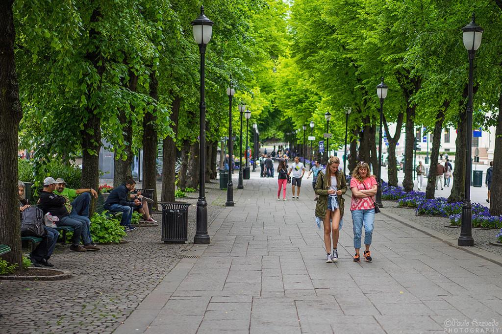Típica rua de Oslo na Noruega