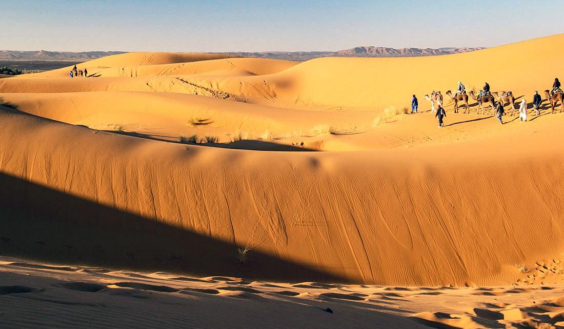 Camelos com pessoas a atravessar as dunas de Erg Chebbi, em Marrocos.
