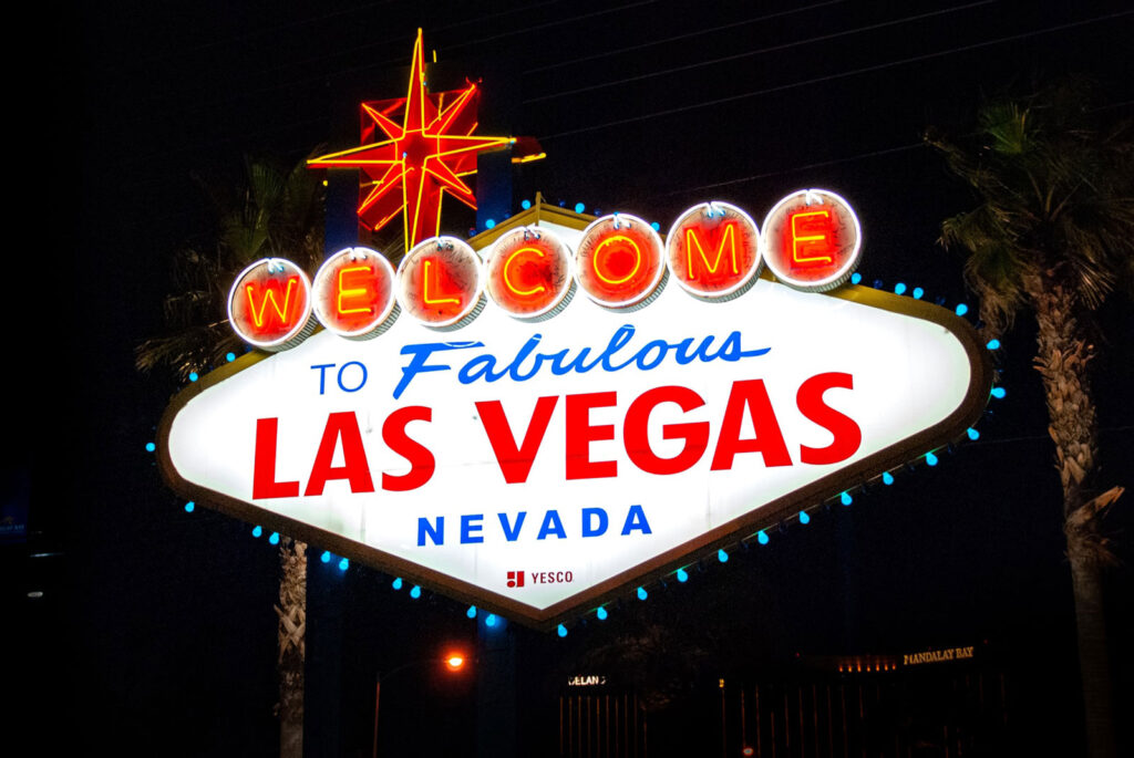 "Letreiro luminoso ""Welcome to fabulous Las Vegas"", na Boulevard South"