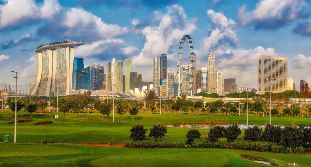 Vista para o Marina Bay Sands, em Singapura